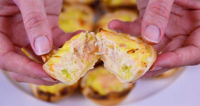 mini tortini al salome con pasta sfoglia e ricotta