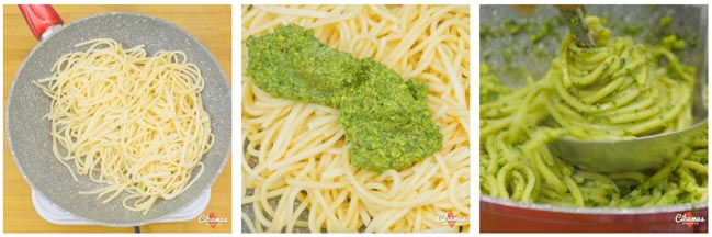spaghetti con pesto di pistacchi